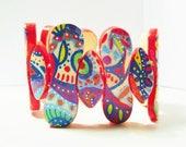 super-stylésBracelet manchette, style mexicain, ethnique, multicolore graphique motif abstrait peint à la main.