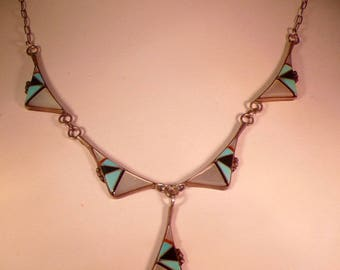 Vintage Native American Inlay Necklace by Teme : Sunburst Handcraft Inc.