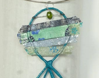 Fish pendant in blue wire and paper