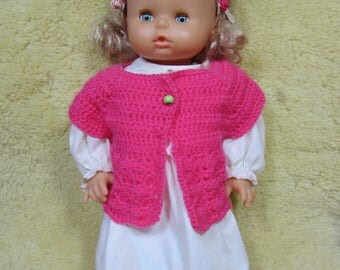 Sleeveless jacket pink crocheted doll 40 cm, closed with a wooden bead on order