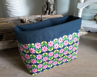 Empty pockets - fabric Interior Navy blue pink flowers-basket basket.