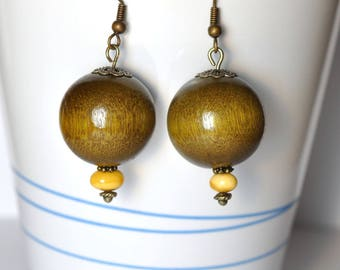 Amber beads and olive balls earrings