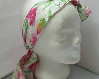 Turban headband Headhand stretchy scarf pink and white bow headband