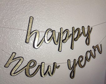 Happy New Year Banner, Gold and Black new year banner, silver and black new year banner, black new year banner, holiday banners, Script