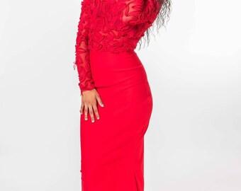 Red Mesh Bodice Prom Dress