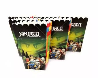 6x Lego Ninjago Lolly Loot Party Popcorn Box. Party Supplies Banner Bunting Flag Deco Favour