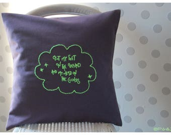 "Pillow ""Head on the clouds""-Purple grey & Neon yellow"