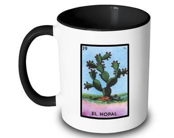 El Nopal Mug Prickly Pear Cactus Loteria Card Mexican Bingo