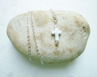 Necklace short white cross pendant