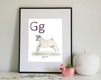 G is for Goat, alphabet series - Print of Original Watercolour