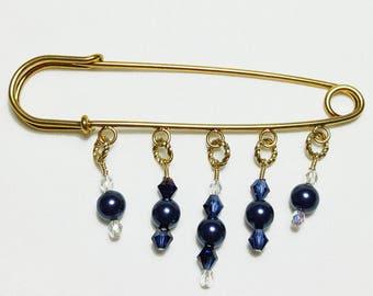 Midnight Blue Pearl Crystal Beaded 14K Shawl Brooch Kilt Pin