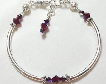 Garnet Red Crystal Bangle Style Bracelet