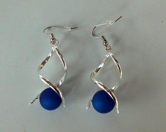 Navy Blue polaris bead spiral earrings / wedding / party / birthday