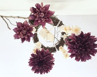 Flower Mobile, Nursery Decoration, Wedding Decoration, Chandelier, Bridal Shower, Home Decoration, Rustic, Purple, Maine