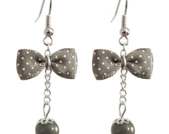 Earrings vintage bow tie inspired grey with small white dots