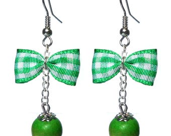 Glamorous retro green and white gingham bowtie BB earrings