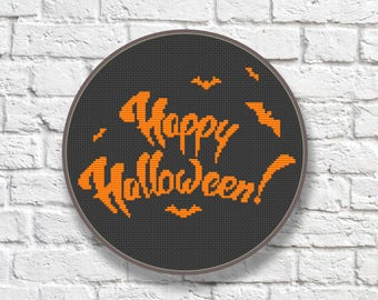 Happy Halloween Cross Stitch Pattern, Cool Cross Stitch Sampler, Halloween Patterns, Halloween Gift, Halloween Home Décor #hl001