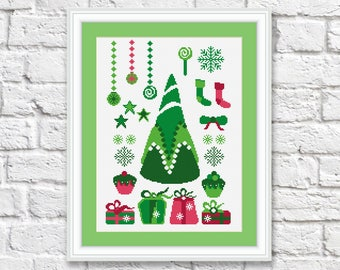 Christmas Tree Cross Stitch Pattern, Christmas Tree Patterns, Merry Christmas Cross Stitch Pattern, PDF Instant Download #ch010