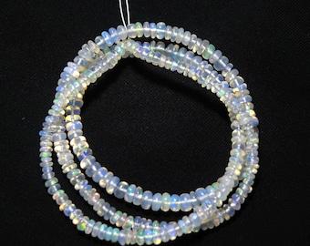 "Natural Ethiopian welo opal smooth beads 2-4 M.M. 16"" strand/necklace, welo opal roundel beads necklace, fire opal beads strand :-AJ14"