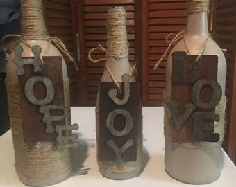 Rustic Themed Winebottles