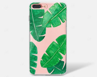 Watercolor Tropical Leaf Palm Banana Silicone Case iPhone 8 iPhone X Case iPhone 6 iPhone 7 iPhone 7 PLUS iPhone 6 PLUS Samsung Galaxy S8 S7