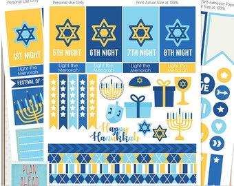 Hanukkah BIG Size Mambi Happy Planner Sticker Printables