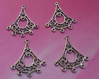Set of 4 silver metal chandelier