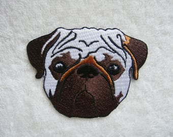 Pug Dog Iron On Patch Embroidered Animal Applique Patches For Jackets