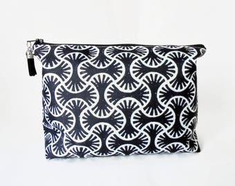 Gifts for her, Canvas Wash bag, Indian, Block Print, Dumpy bag, cosmetic bag, zip bag, make up bag.
