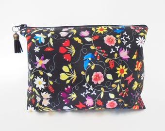 Dumpy bag, Embroidery print, boxy wash bag, cosmetic bag, zip bag, make up bag.