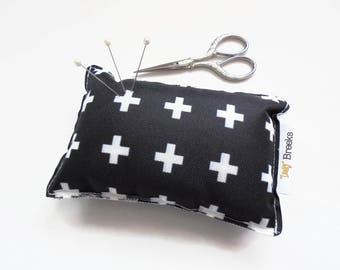 Sewing Gift, Crosses print, Pin cushion, seamstress gift, tailors gift, crafters gift, pin organiser, desk tidy, black and white.