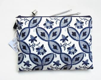 Gifts for her, Wash bag, Botanical Indigo print, boho, pocket bag, travel bag, cosmetic bag, zip bag, make up bag, large makeup bag.