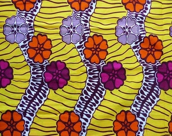 African wax fabric * yellow, orange, fuchsia * 0.50 m