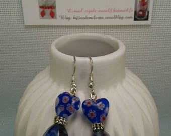 #35 # heart earrings blue flowers and patterned blue faceted beads