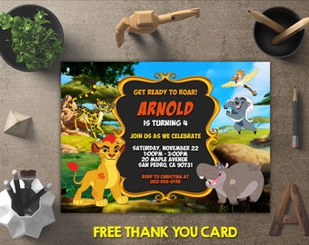 Lion Guard Invitation, Lion Guard Birthday, Lion Guard Invites, Lion Guard Party Printables, Lion Guard Theme, FREE 4x6 Thank You Card