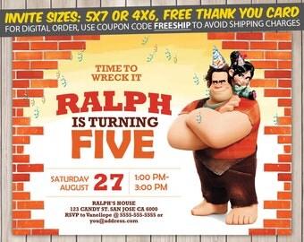 Wreck It Ralph Invitation, Wreck It Ralph Birthday, Wreck It Ralph Birthday Invitation, Wreck It Ralph Party, Wreck It Ralph Invite