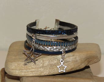 "Cuff Bracelet ""Arabian nights of stars"" leather, leather glitter, color piece Navy and silver"