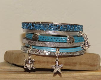 """""""Beach vacation"""" turqoise leather and silver Cuff Bracelet with magnetic clasp"""