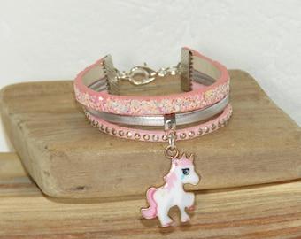 Bracelet for girl Unicorn, Unicorn bracelet girl bracelet, pastel pink, silver, glitter, leather, suede studded, leather