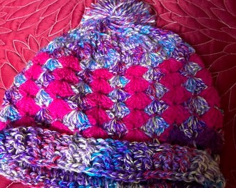 Multicolor hat, crochet, handmade from recycled yarn.