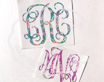 Vine Monogram Decal, Vine Monogram Sticker, Decal for Yeti, Cup Decal, Phone Decal, Fancy Monogram, Fancy Font, Patterned Vinyl Decal