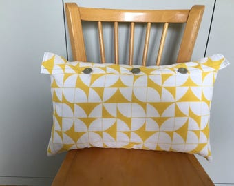 Yellow and white geometric patterned linen cushion