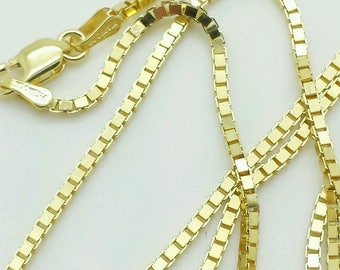 """10k Solid Yellow Gold Box Link Necklace Pendant Chain 18"""" - 24"""" 1.4mm"""