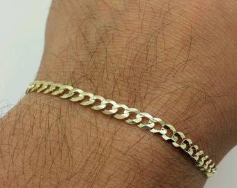 """10k Solid Yellow Gold Cuban Curb Bracelet Chain 8"""" 4.7mm"""