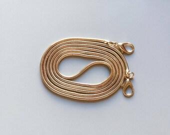 Bag Chain Strap for Handbag / Shoulder Bag Replacement Snake Chain 120 cm x 3 mm GOLD