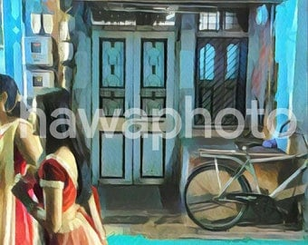 Woman in a sari in an alley - 12x12 Art print on canvas