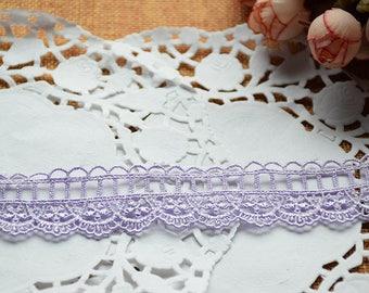 Guipure lace embroidered Pale purple Largeur2.7cm L027001