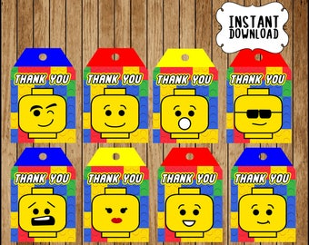 Printable Building Blocks Lego Thank you Tags instant download, Lego party Tags, Printable Lego Gift Tags