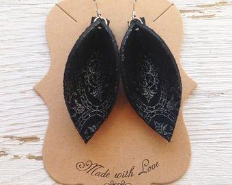 Black Leather Petal Earrings, Genuine Leather, Statement Earrings, Boho