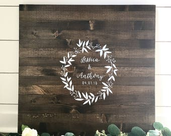 Wedding Guest Book Alternative Wood Sign In